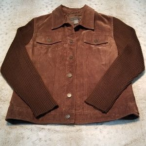 Relativity Brown Suede Leather and Sweater Jacket